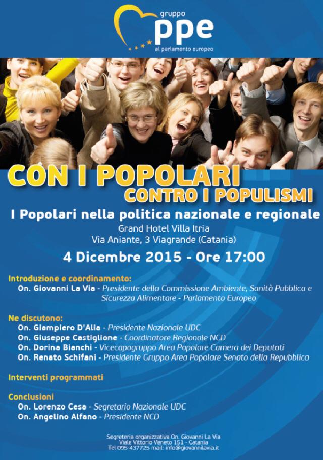 """Venerdì 4 Dicembre a Viagrande, convention """"Con i Popolari contro i Populismi"""""""